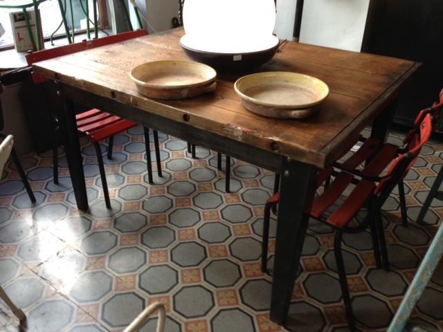 tavolo industriale in legno e ferro ebay